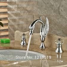 newly chrome polish 3pcs bathroom sink faucet crystal handles swan