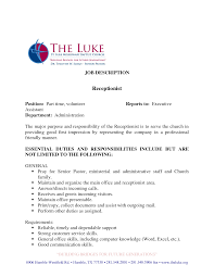 Receptionist Resume Qualifications Medical Receptionist Duties Resume Cv Cover Letter
