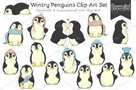 wintry penguins clip art set illustrations creative market