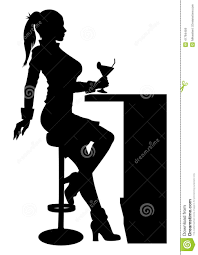 martini silhouette vector silhouette woman sitting at the bar with cocktail stock vector