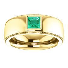 gold ring for men mens modern 14k yellow gold emerald ring mens 14k white gold
