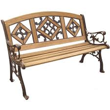 Wood Patio Furniture Home Depot - parkland heritage florence wood inlay patio park bench sl5790co br