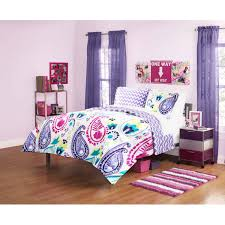 bedroom purple paisley bedding with canopy bed and rug for