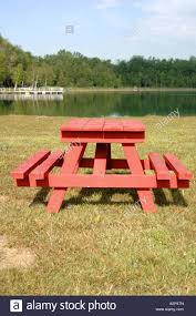 Wooden Park Bench A Red Painted Wooden Park Bench Table Stock Photo Royalty Free
