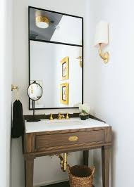 Powder Room Bathroom A Modern Neutral Powder Room By Kate Marker With Wood Black And