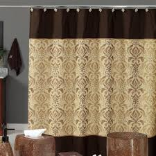 Brown And Gold Shower Curtains Cheap Toile Shower Curtain Brown Gold Shiny Damask Bathroom