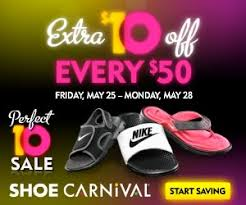 shoe carnival coupon 10 50 memorial day weekend sale