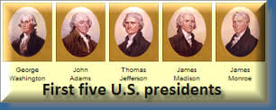 first five presidents u s history to 1877