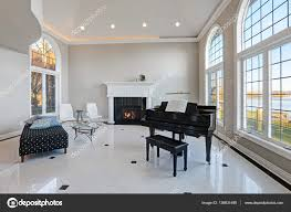 Living Room With High Ceiling by Luxury High Ceiling Living Room With Marble Floor U2014 Stock Photo