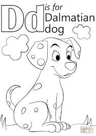 letter d is for dalmatian dog coloring page free printable