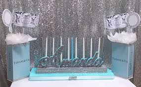 sweet 16 candelabra sweet 16 candelabra and centerpieces tiff blue theme with