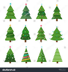 collection trees modern flat design stock vector
