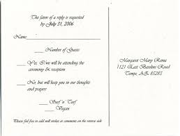 wedding invitation response card reply meal wedding invitation response card wording white paper