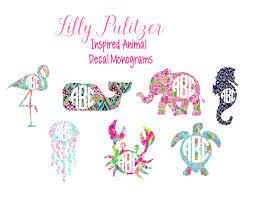 lilly pulitzer inspired animal monogram decal preppy monogram