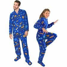 retro space fleece footed pajamas with drop seat pajama city