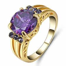 amethyst engagement rings size 8 purple amethyst engagement ring 10kt yellow gold filled