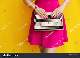 outdoor fashionable pink dress striped stock photo 469193009