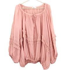 blouse bouffante rose et dentelle grande taille boheme hippie boho