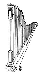 harp coloring page kids under 7 musical instruments coloring pages