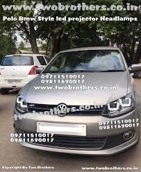 volkswagen polo white colour modified projector lens car headlights robotic eye shark eye light
