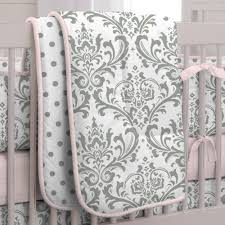 Girls Nursery Bedding Set by Pink And Gray Traditions 3 Piece Crib Bedding Set Carousel Designs