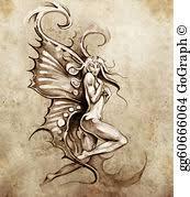 stock photos sketch of tattoo art fairy angel woman