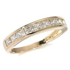 gold band 1ctw absolute princess cut channel 14k yellow gold band ring