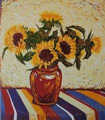 Vase Of Sunflowers Prints By Louise Stebbing At Skylark Studios Printmaking Art