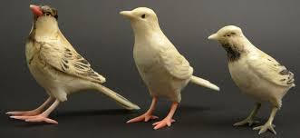 three 3 japanese carved and polychromed ivory bird figures