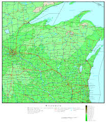 Wisconsin Lake Maps by Wisconsin Elevation Map