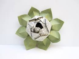 Lotus Blossom Origami - lotus blossom origami from vintage dictionary pages with green