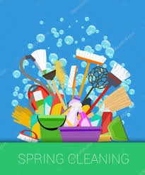 Springcleaning Spring Cleaning Background Set Of Cleaning Supplies Vector