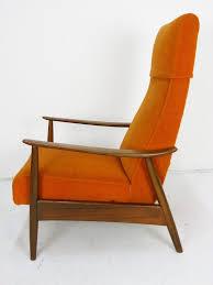 milo baughman orange recliner 74 mid century vintage oneandhome