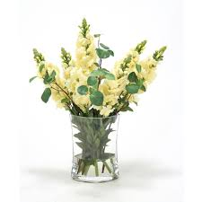 artificial floral arrangements waterlook yellow snapdragon silk floral arrangement in clear