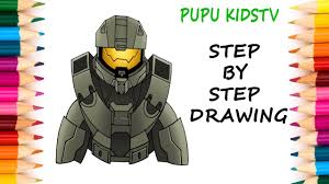 how to draw master chief halo 5 art for kids coloring pages