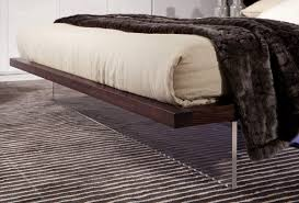 volterra contemporary brown oak and white floating bed w lights