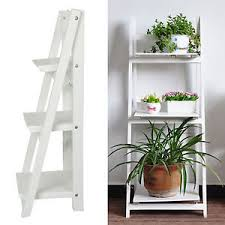 3 tier white ladder shelf display unit free standing folding book