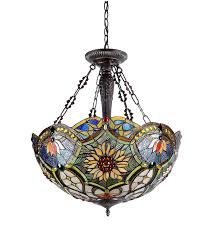 Inverted Bowl Pendant Light by Chloe Lighting Ch33270vb21 Uh3 Tiffany Style Victorian 3 Light