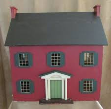 vintage handmade dollhouse folk art red saltbox colonial signed