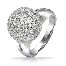 silver ball rings images Pave encrusted disco ball sterling silver cocktail ring jpg