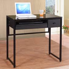 black painted metal computer desk frame with drawers using black