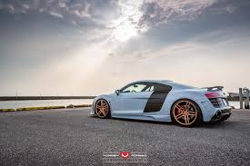 audi r8 gold hamana audi r8 v10 on gold vossen wheels side angle 2 sssupersports