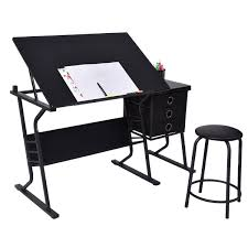 black adjustable drafting table w stool u0026 side drawers art