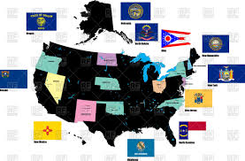 Map Of Usa States by Contour Of Map Of Usa With Alaska And Flags Of States Vector Image