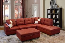 bevly red faux leather sectional sofa with ottoman lowest price