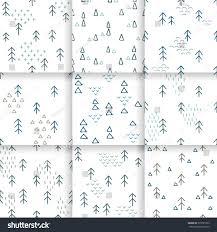 scandinavian pattern fir trees triangles seamless stock vector