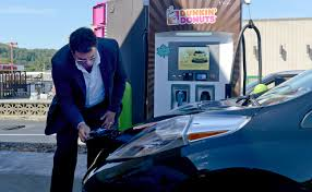 nissan leaf dc fast charge doughnuts coffee and a quick charge