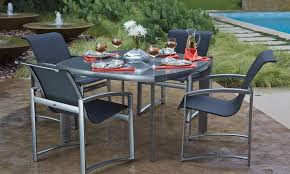 exterior modern outdoor dining furniture set by woodard furniture