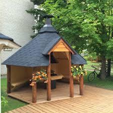 giardini con gazebo gazebo da giardino esagonale con barbecue bbq optional in offerta