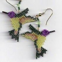 hand beaded hummingbird dangling earring number 8 by beadfairy1